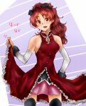 1girl bare_shoulders black_bow black_legwear bow commentary_request detached_sleeves dress eyebrows_visible_through_hair fang frilled_dress frills hair_bow highres long_hair mahou_shoujo_madoka_magica open_mouth ponytail purple_background red_dress red_eyes redhead sakura_kyouko simple_background sleeveless sleeveless_dress solo suzuki_no_m thigh-highs translation_request wavy_hair white_background zettai_ryouiki