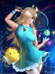 1girl aqua_dress aqua_eyes arm_up armpits artist_name ball bare_shoulders blonde_hair breasts closed_mouth commentary_request covered_navel crown dress earrings easonx fingernails frills gem hair_over_one_eye holding holding_racket jewelry lips long_hair looking_at_viewer luma_(mario) medium_breasts mini_crown nail_polish navel one_eye_covered patreon_username purple_nails racket reward_available rosalina signature skin_tight sky sleeveless sleeveless_dress smile solo space sparkle sportswear star_(sky) star_(symbol) starry_sky strapless strapless_dress super_mario_bros. super_mario_galaxy tennis_ball tennis_racket tennis_uniform watermark web_address wristband