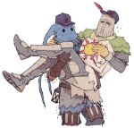 2boys armor brown_gloves carrying covered_face dark_souls_(series) dark_souls_i gloves hat helmet multiple_boys princess_carry solaire_of_astora sun tabard y_(chos)