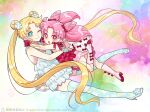 2girls bishoujo_senshi_sailor_moon blonde_hair blue_eyes blue_legwear boots bow chibi_usa double_bun dress earrings flower frilled_dress frills full_body gloves hair_flower hair_ornament hug jewelry knee_boots long_hair looking_at_viewer multiple_girls nightcat one_eye_closed open_mouth pink_eyes pink_footwear red_bow red_gloves red_shirt shirt smile teeth thigh-highs tsukino_usagi twintails
