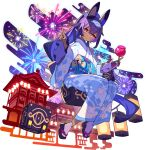 1girl architecture artist_request bangs bell blue_hairband blue_kimono blush candy_apple closed_mouth crossed_bangs cube dark-skinned_female dark_skin east_asian_architecture egasumi fireworks flat_chest floating floating_object floral_print food fox_mask frilled_kimono frilled_sleeves frills full_body hair_ornament hairband hairclip hands_up happy headgear high_ponytail highres holding holding_food index_finger_raised japanese_clothes jingle_bell kimono lantern long_hair long_sleeves looking_at_viewer mask nephtim_(world_flipper) night non-web_source obi official_alternate_costume official_art orange_eyes outdoors purple_hair sandals sash shiny shiny_hair sidelocks sitting smile socks solo tabi tied_hair transparent_background white_legwear wide_sleeves world_flipper
