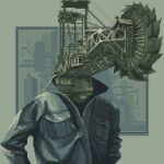 daisen_(specialdaisen) excavator grey_theme highres industrial jacket no_humans original pixel_art pocket solo surreal upper_body