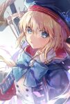 1girl artoria_pendragon_(caster)_(fate) artoria_pendragon_(fate) bangs belt beret black_gloves blonde_hair blue_cape blue_headwear blush breasts buttons cape double-breasted dress fate/grand_order fate_(series) gloves green_eyes hat holding holding_staff hood hooded_cape long_hair long_sleeves looking_at_viewer multicolored multicolored_cape multicolored_clothes red_cape small_breasts solo staff twintails vivi_(eve_no_hakoniwa) white_dress