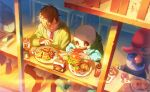 2boys brown_hair burger chair character_request closed_eyes commentary_request day eating food french_fries highres hood hooded_jacket hoodie jacket meipu_hm multiple_boys necktie pants restaurant sandwich sans shirt short_hair shorts sitting skeleton skull slippers undertale