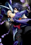 1boy armor blood digital_art falling fingerless_gauntlets floating_hair joka_(night_gate) male one_eye_closed phoenix_ikki saint_seiya simple_background solo solo_focus torn_clothes white_background wound wounded