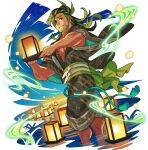 1boy artist_request aura bangs beard belt blue_sky brown_hair brown_kimono dutch_angle egasumi eyepatch facial_hair forehead full_body gradient_sky green_hair grin hair_bun hand_fan happy highres holding holding_lantern japanese_clothes kimono lantern lantern_festival lantern_on_liquid large_pectorals leon_(world_flipper) light_particles long_hair long_sleeves looking_at_viewer male_focus multicolored_hair muscular muscular_male night non-web_source obi official_art open_clothes open_kimono paper_fan paper_lantern partially_submerged pectorals red_eyes sash sky sky_lantern smile solo standing star_(sky) starry_sky streaked_hair tassel teeth tied_hair transparent_background two-tone_hair uchiwa wading wet wide_sleeves world_flipper