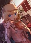 1girl arimoto_wataru bangs blonde_hair blue_eyes blurry blurry_background breasts brown_capelet brown_jacket brown_skirt capelet chain chopsticks commentary counter curtains deerstalker depth_of_field diffraction_spikes dress_shirt dutch_angle eating electric_fan english_commentary eyebrows_visible_through_hair eyelashes food hair_ornament hat highres holding holding_chopsticks hololive hololive_english holomyth jacket long_sleeves looking_at_viewer market_stall medium_breasts monocle_hair_ornament necktie noodles plaid plaid_skirt pocket_watch raised_eyebrows red_neckwear shelf shirt short_hair short_necktie skirt slurping solo sparkle stethoscope takeout_container virtual_youtuber watch watson_amelia white_shirt
