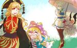 4girls american_flag_dress apron bat_wings bird blonde_hair bow braid breasts brown_footwear brown_legwear chinese_clothes closed_eyes clownpiece commentary_request crying fairy_wings green_bow hair_ribbon hat head_bump izayoi_sakuya jester_cap junko_(touhou) large_breasts long_hair long_sleeves looking_at_another looking_back maid_apron maid_headdress mob_cap multiple_girls neck_ruff one_eye_closed open_mouth phoenix pout remilia_scarlet ribbon sweatdrop tabard tassel touhou tress_ribbon twin_braids umbrella wide_sleeves wings yutarou