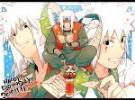 1boy age_progression black_eyes book colored facial_mark hand_guard headgear jiraiya kimono looking_at_viewer male male_focus naruto pages portrait sandals scroll smile solo spiked_hair vest white_hair