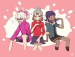 3boys alternate_hairstyle bangs beanie bede_(pokemon) bike_shorts blonde_hair bow brown_eyes brown_hair cable_knit closed_eyes closed_mouth coat commentary_request crossdressing dark-skinned_male dark_skin flying_sweatdrops fur-trimmed_jacket fur_trim grey_headwear hair_bow hand_up hat highres hop_(pokemon) jacket knees male_focus multiple_boys nai_gai_hongcha open_clothes open_jacket pink_bow pokemon pokemon_(game) pokemon_swsh purple_coat purple_hair red_shirt shirt short_hair sitting skirt sleeves_past_elbows sleeves_rolled_up smile socks victor_(pokemon) yellow_eyes