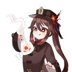 1girl :d :q ahoge bangs black_nails brown_hair chinese_clothes commentary_request eyebrows_visible_through_hair flower flying_sweatdrops genshin_impact ghost hair_between_eyes hat hat_flower hat_ornament holding hu_tao_(genshin_impact) long_hair long_sleeves miyako_draw open_mouth pulling red_eyes sidelocks simple_background smile symbol-shaped_pupils tongue tongue_out v-shaped_eyebrows white_background