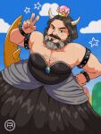 1boy armlet beard black_dress black_hair blue_sky bowsette bowsette_(cosplay) bracelet chest_hair clouds collarbone commentary cosplay cottonwoodler crossdressing crown day dress english_commentary facial_hair fingernails hand_on_hip hand_up highres horns jack_black jewelry looking_at_viewer male_focus mustache new_super_mario_bros._u_deluxe outdoors real_life short_hair sky solo spiked_armlet spiked_bracelet spikes star_(symbol) strapless strapless_dress super_crown super_mario_bros. super_mario_bros._(2022_film) v