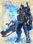 1boy armor blood blood_on_clothes blue_fire brass_knuckles brown_background character_request club_(weapon) dairoku_youhei explosive fire full_armor full_body gas_mask grenade helmet hetza_(hellshock) holding holding_weapon horns looking_at_viewer mask pouch single_horn solo spiked_club standing weapon white_hair yellow_eyes