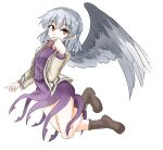 1girl angel_wings bangs beige_jacket boots bow bowtie breasts clip_studio_paint_(medium) commentary_request covering_mouth cross-laced_footwear dress eyebrows_visible_through_hair feathered_wings hair_between_eyes kishin_sagume long_sleeves looking_at_viewer purple_dress red_eyes red_neckwear short_hair simple_background single_wing small_breasts solo tarumaru thighs touhou white_background wings