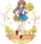 +++ 1girl artist_request asahina_mikuru bangs blue_sailor_collar blue_skirt breasts brown_eyes brown_footwear brown_hair castle confetti eyebrows_visible_through_hair fisheye full_body hand_on_hip hand_up highres holding holding_pom_poms knees_together_feet_apart lamppost leg_up loafers long_hair long_sleeves looking_at_viewer medium_breasts miniskirt non-web_source official_art open_mouth pom_pom_(cheerleading) red_ribbon ribbon sailor_collar school_uniform serafuku shiny shiny_hair shirt shirt_tucked_in shoes sidelocks skirt socks solo standing standing_on_one_leg suzumiya_haruhi_no_yuuutsu transparent_background tree white_legwear white_shirt world_flipper