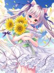 1girl animal_ears bangs bare_shoulders blue_eyes blue_sky blush cat_ears cat_tail clouds collarbone dress eyebrows_visible_through_hair flower hair_ribbon heterochromia highres holding holding_flower long_hair looking_at_viewer off-shoulder_dress off_shoulder open_mouth original puu_(kari---ume) ribbon silver_hair sky solo sunflower symbol-only_commentary tail tail_ornament tail_ribbon twintails white_dress yellow_eyes