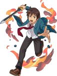 1boy arms_up artist_request bangs black_legwear black_pants blue_jacket breast_pocket brown_eyes brown_footwear brown_hair buttons collared_shirt constricted_pupils fire full_body highres holding holding_sword holding_weapon jacket kyon leg_up loafers long_sleeves looking_down male_focus necktie non-web_source official_art open_clothes open_jacket open_mouth outstretched_arms pants pocket red_neckwear running school_uniform shiny shiny_hair shirt shoes short_hair sidelocks smoke socks solo suzumiya_haruhi_no_yuuutsu sweat sword teeth transparent_background v-shaped_eyebrows weapon white_shirt world_flipper