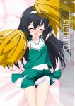 1girl artist_name bangs black_hair character_name cheerleader chestnut_mouth closed_eyes clothes_lift copyright_name cowboy_shot facing_viewer girls_und_panzer green_skirt hairband highres holding holding_pom_poms inaba_shiki long_hair looking_at_viewer lying open_mouth pleated_skirt pom_pom_(cheerleading) reizei_mako school_uniform shirt skirt skirt_lift sleeveless sleeveless_shirt solo swimsuit swimsuit_under_clothes white_hairband white_swimsuit