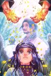 1boy 1girl adam's_apple ainu_clothes asirpa beard black_hair blue_eyes crying crying_with_eyes_open earrings facial_hair father_and_daughter gold golden_kamuy hands highres hoop_earrings jewelry mujisane_togoro scar scar_across_eye scar_on_face tears upper_body wilk_(golden_kamuy)