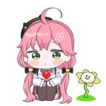 1girl ahoge animal_hat beret black_headwear blush_stickers cat_hat chibi flowey_(undertale) green_eyes hat highres hololive long_hair looking_at_another low_twintails mochimiko pink_hair red_skirt sakura_miko simple_background sitting skirt twintails undertale very_long_hair virtual_youtuber white_background