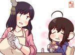 2girls :3 ahoge alternate_costume artist_logo beige_apron black_hair blue_hoodie braid brown_hair chair closed_eyes collarbone commentary_request dated eating food gloves hair_ornament hair_over_shoulder holding holding_food hood hood_down hoodie kanon_(kurogane_knights) kantai_collection long_sleeves multiple_girls one-hour_drawing_challenge open_mouth pink_shirt red_eyes shigure_(kancolle) shirt short_hair simple_background single_braid sitting smile sweet_potato white_background white_gloves yakiimo yakult yamashiro_(kancolle)