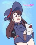1girl bangs brown_hair hat highres holding kagari_atsuko letter little_witch_academia long_hair long_sleeves luna_nova_school_uniform open_mouth pumpkinspice7500 red_eyes school_uniform self_upload smash_invitation solo super_smash_bros. trigger_(company) wand witch witch_hat
