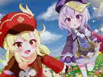 2girls :d ahoge bandaged_leg bandages bangs bead_necklace beads blonde_hair blue_sky blurry blush braid braided_ponytail brown_gloves brown_scarf cabbie_hat cape chinese_clothes clouds cloudy_sky clover_print coat commentary_request depth_of_field dodoco_(genshin_impact) eyebrows_visible_through_hair field flower flower_field genshin_impact gloves hair_between_eyes hat hat_feather hat_ornament highres holding_hands horizon jewelry jiangshi klee_(genshin_impact) long_hair long_sleeves looking_at_viewer low_ponytail low_twintails mitsuka! multiple_girls necklace ofuda open_mouth parted_lips petals pointy_ears purple_hair qing_guanmao qiqi_(genshin_impact) red_coat red_eyes red_headwear scarf sidelocks single_braid sky smile stuffed_animal stuffed_toy thigh-highs twintails v-shaped_eyebrows violet_eyes walking white_legwear zettai_ryouiki