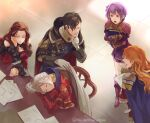 2boys 3girls armor armored_dress bare_shoulders bernadetta_von_varley black_cape black_hair blue_cape book boots brown_hair cape closed_eyes closed_mouth dorothea_arnault dress earrings edelgard_von_hresvelg ferdinand_von_aegir finger_to_mouth fire_emblem fire_emblem:_three_houses frilled_sleeves frills gauntlets gloves grey_eyes hair_over_one_eye holding holding_book hubert_von_vestra index_finger_raised indoors jewelry long_hair long_sleeves looking_at_another multiple_boys multiple_girls object_hug open_mouth orange_eyes orange_hair paper ponytail purple_dress purple_footwear purple_hair purple_shorts red_armor red_dress short_hair short_shorts shorts shoulder_armor shushing side_ponytail sitting sleeping smile strapless strapless_dress suikomu_now table teeth tongue twitter_username wavy_hair white_gloves white_hair wide_sleeves yellow_eyes yellow_gloves