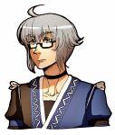 1boy ahoge glasses grey_hair moonywitcher morichika_rinnosuke portrait short_hair simple_background solo touhou white_background yellow_eyes