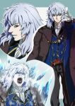 1boy ascot bangs black_pants blue_border blue_coat border breath clenched_teeth closed_mouth coat coat_on_shoulders cropped_shoulders fangs feet_out_of_frame frost fur_coat gloves grey_background grey_hair ice icicle kiya_hajime long_sleeves looking_at_viewer male_focus medium_hair multiple_views open_clothes open_coat open_mouth outstretched_arm pants parted_lips red_eyes sash sidelocks teeth tongue tsukihime tsukihime_(remake) tsurime upper_body vlov_arkhangel white_gloves white_neckwear wide-eyed winter_clothes winter_coat