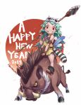 1girl 2019 absurdres atsushi barefoot boar bracelet caveman chinese_zodiac english_text feathers green_hair grin hair_ornament highres jewelry long_hair looking_at_viewer messy_hair missing_tooth necklace nengajou new_year original over_shoulder polearm prehistoric red_eyes riding skull_hair_ornament smile spear tribal tusks weapon weapon_over_shoulder white_background year_of_the_pig