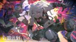 2boys abs action asymmetrical_gloves bandaged_arm bandages belt black_gloves black_shirt blue_eyes blue_hair bomb boots chinese_commentary coat commentary_request copyright_name crossbow explosive fingerless_gloves fur-trimmed_coat fur_trim girls'_frontline_neural_cloud girls_frontline gloves goggles goggles_around_neck grenade headset highres hood hood_down hooded_coat knee_pads male_focus midriff mismatched_gloves multiple_boys octogen_(girls'_frontline_nc) open_mouth pants red_eyes screwdriver shirt shishio short_hair shorts simo_(girls'_frontline_nc) sleeveless sleeveless_shirt smile snowboard white_coat white_hair