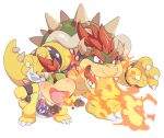 2boys armlet bowser bowser_jr. bracelet breathing_fire fang father_and_son fire horns jewelry multiple_boys omochi_(glassheart_0u0) open_mouth ponytail red_eyes redhead sharp_teeth shell short_hair simple_background size_difference spiked_armlet spiked_bracelet spiked_tail spikes super_mario_3d_world super_mario_bros. tail teeth transparent_background white_background