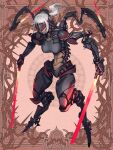 1girl android breasts brown_background dairoku_ryouhei full_body glowing grey_hair head_mounted_display hetza_(hellshock) holding holding_weapon large_breasts long_hair mechanical mechanical_arms mechanical_legs ponytail red_background sharp_teeth smile solo spine standing sword teeth weapon