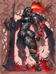 1girl arm_armor armor black_feathers blood blood_on_clothes breastplate breasts dairoku_ryouhei feathers full_armor full_body gauntlets helm helmet hetza_(hellshock) holding holding_weapon large_breasts leg_armor oversized_object plume red_background red_fire red_theme shoulder_armor solo sword weapon