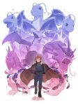1boy absurdres aerodactyl belt black_belt black_cloak charizard clenched_hand cloak closed_mouth commentary_request dragonite energy gyarados hand_up highres jacket lance_(pokemon) long_sleeves looking_at_viewer male_focus odd_(hin_yari) pants pokemon pokemon_(creature) pokemon_(game) pokemon_hgss red_eyes redhead smile spiky_hair