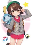 1girl :t absurdres backpack bag blush bob_cut brown_bag brown_eyes brown_hair buttons cable_knit cardigan clenched_hand closed_mouth collared_dress commentary dress gloria_(pokemon) green_headwear grey_cardigan hat highres hooded_cardigan ikazu401 looking_at_viewer pink_dress poke_ball pokemon pokemon_(creature) pokemon_(game) pokemon_swsh short_hair smile sobble star_(symbol) tam_o'_shanter ultra_ball v