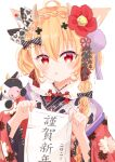 1girl :o absurdres ahoge animal blonde_hair bow braid chinese_zodiac eyebrows_visible_through_hair eyelashes floral_print flower hair_between_eyes hair_bow hair_flower hair_ornament hands_up happy_new_year highres holding holding_paper japanese_clothes kimono medium_hair multicolored_hair nengajou new_year open_mouth original paper red_eyes red_kimono shimo_shiina simple_background streaked_hair tassel two-tone_hair upper_body white_background year_of_the_ox