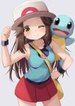 1girl absurdres bag between_breasts black_wristband blue_shirt blush breasts brown_hair closed_mouth collarbone eyelashes hair_flaps hand_on_hip hat highres ikazu401 leaf_(pokemon) long_hair messenger_bag one_eye_closed pleated_skirt pokemon pokemon_(creature) pokemon_(game) pokemon_frlg red_skirt shirt shoulder_bag skirt sleeveless sleeveless_shirt smile squirtle strap_between_breasts vs_seeker white_headwear wristband yellow_bag yellow_eyes