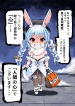 1girl absurdres animal_ears bag black_gloves black_headwear blue_hair bow breasts carrot_hair_ornament detached_sleeves don-chan_(usada_pekora) evil_grin evil_smile eyebrows_visible_through_hair food-themed_hair_ornament full_body fur-trimmed_gloves fur_trim gloves grin hair_bow hair_ornament hat highres hololive koyashi24 legband pantyhose puffy_short_sleeves puffy_sleeves rabbit_ears rabbit_girl shaded_face shadow short_sleeves small_breasts smile solo thick_eyebrows translation_request usada_pekora virtual_youtuber white_hair