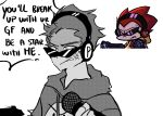 1boy alternate_universe anger_vein english_commentary friday_night_funkin' frown headphones hoodie keic0 microphone monochrome pico_(pico's_school) short_hair solo sunglasses white_background
