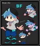 1boy alternate_universe aozora_oekaki black_background black_hat blue_hair boyfriend_(friday_night_funkin') english_text friday_night_funkin' hat microphone simple_background solo standing text