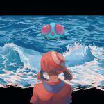 1girl brown_hair highres may_(pokemon) medium_hair outdoors pokemon pokemon_(creature) pokemon_(game) pokemon_rse red_bandana red_shirt shirt short_sleeves tentacruel water waves yamanote
