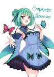 1girl absurdres blue_dress breasts bug butterfly congratulations detached_collar detached_sleeves double_bun dress earrings green_hair highres hololive jewelry koyashi24 open_mouth orange_eyes skull_earrings small_breasts smile solo strapless strapless_dress uruha_rushia virtual_youtuber wide_sleeves