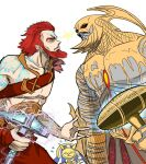 1girl 2boys akmon_(hammer) animal_mask blue_eyes colored_skin egyptian gold_skin greek_clothes grey_skin hammer hazoret_(magic:_the_gathering) helmet holding holding_weapon imminent_fight lightning_glare magic:_the_gathering multiple_boys norse purphoros_(magic:_the_gathering) red_eyes red_wingp2 redhead runes spark toralf_(magic:_the_gathering) tyrite_(hammer) viking weapon white_background