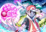1boy baseball_cap closed_mouth commentary_request dynamax_ball dynamax_band energy fangs gigantamax gigantamax_snorlax glowing glowing_eyes hand_on_headwear hand_up hat jacket male_focus noppe pokemon pokemon_(creature) pokemon_(game) pokemon_frlg red_(pokemon) red_headwear red_jacket shirt short_hair short_sleeves sleeveless sleeveless_jacket snorlax strap t-shirt tree vs_seeker wristband