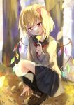 1girl alternate_costume autumn autumn_leaves bangs beige_sweater black_legwear black_skirt blonde_hair blurry blurry_background blush bow brown_footwear commentary_request crystal eyebrows_visible_through_hair fang flandre_scarlet flat_chest hair_between_eyes hair_bow hand_up highres holding holding_leaf kneehighs leaf light_smile long_sleeves looking_at_object looking_down neckerchief no_hat no_headwear one_side_up outdoors parted_lips red_bow red_eyes red_neckwear sailor_collar short_hair skirt solo squatting touhou tree wings yurara_(aroma42enola)
