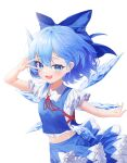 1girl :d adapted_costume arm_up bangs blue_bow blue_eyes blue_hair blue_skirt blue_vest blush bow breasts cirno commentary_request cowboy_shot eyebrows_visible_through_hair fang hair_behind_ear hair_between_eyes highres ice ice_wings ju-ok looking_at_viewer midriff navel open_mouth petticoat red_neckwear red_ribbon ribbon short_hair simple_background skin_fang skirt small_breasts smile solo touhou v_over_eye vest white_background wing_collar wings