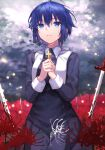 1girl bangs black_dress black_keys_(type-moon) blood blood_on_weapon blue_eyes blue_hair ciel_(tsukihime) closed_mouth clouds cloudy_sky commentary_request cross cross_necklace crying crying_with_eyes_open dress eyebrows_visible_through_hair field fingernails flower flower_field habit hair_between_eyes hands_together herigaru_(fvgyvr000) highres holding holding_cross jewelry latin_cross light_particles long_dress long_sleeves looking_away looking_up necklace nun planted planted_sword red_flower seiza short_hair sitting sky solo spider_lily sword tearing_up tears tsukihime tsukihime_(remake) weapon white_flower