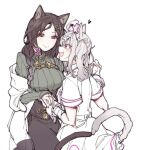 2girls animal_ears bandaged_arm bandages bell black_hair braid breasts cat_ears cat_tail closed_mouth coat collar eye_contact eyebrows_visible_through_hair eyes_visible_through_hair face-to-face facing_another fang hair_ornament hat heart holding_hands long_hair long_sleeves looking_at_another mitsumine_(ookami_no_oyashiro) mole mole_under_eye multiple_girls neck_bell nijisanji nurse nurse_cap open_mouth orange_eyes pink_eyes ribbed_sweater shirayuki_tomoe short_sleeves silver_hair simple_background skirt smile sukoya_kana sweater tail turtleneck turtleneck_sweater twintails virtual_youtuber white_background white_hair white_wrist_cuffs x_hair_ornament